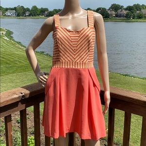 Pink Martini Striped Thick Strap Sweetheart Dress
